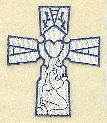 Embroidery Design: Cross with Jesus praying 3.24w X 3.86h