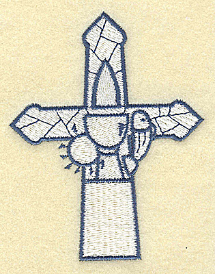 Embroidery Design: Cross with Chalice and fish 3.03w X 3.87h