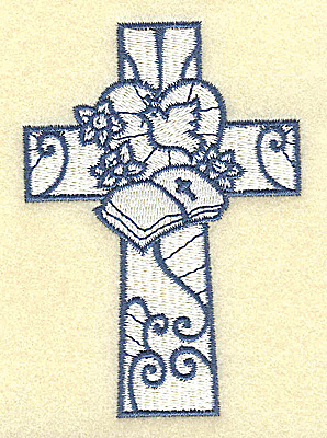 Embroidery Design: Cross with bible and dove 2.70w X 3.87h