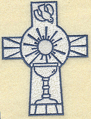 Embroidery Design: Cross with chalice and dove 2.93w X 3.86h