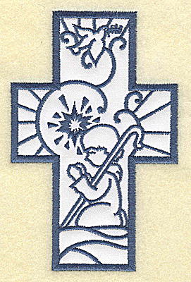 Embroidery Design: Cross applique with shepherd 3.19w X 4.96h