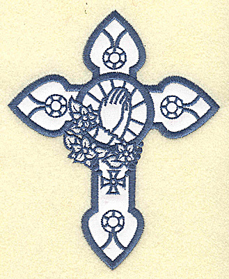 Embroidery Design: Cross applique with praying hands 4.03w X 4.95h