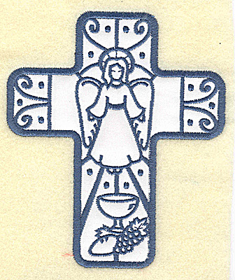 Embroidery Design: Cross applique with angel 4.22w X 4.96h