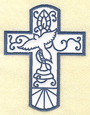 Embroidery Design: Cross applique with dove 3.77w X 4.96h