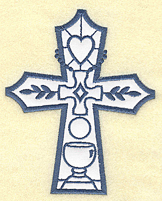 Embroidery Design: Cross applique heart and chilice 4.02w X 4.95h