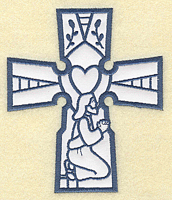 Embroidery Design: Cross applique Jesus praying 4.19w X 4.96h