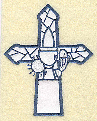 Embroidery Design: Cross applique chalice and fish 3.98w X 4.98h