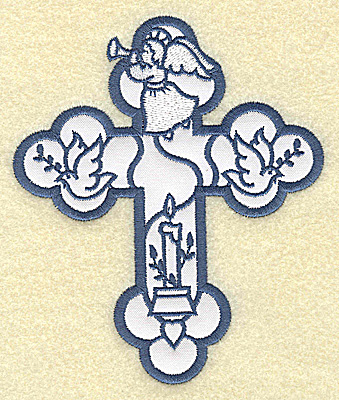 Embroidery Design: Cross applique angel and doves 4.15w X 4.96h