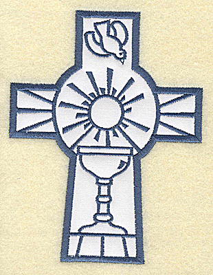 Embroidery Design: Cross applique chalice and dove 3.78w X 4.96h