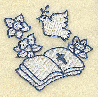 Embroidery Design: Bible with dove 3.00w X 3.02h