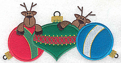 Embroidery Design: Three applique ornaments with reindeers 6.93w X 3.55h