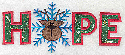 Embroidery Design: Hope applique with reindeer and snowflake 6.93w X 2.98h