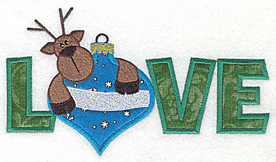 Embroidery Design: Love reindeer on ornament appliques 6.93w X 3.91h