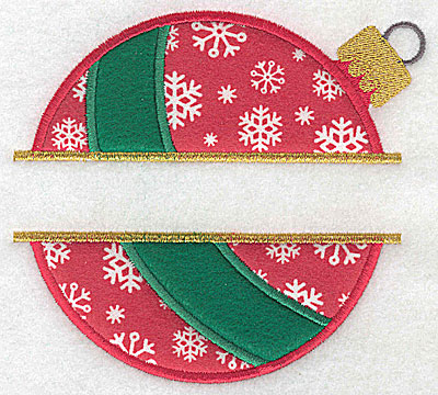 Embroidery Design: Christmas ornament A large double split appliques 5.24w X 4.78h