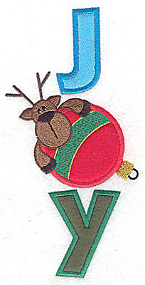 Embroidery Design: Joy vertical with reindeer and ornament triple applique 6.97w X 3.43h