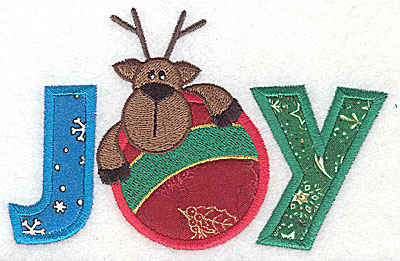 Embroidery Design: Joy horizontal with reindeer and ornament triple applique 5.19w X 3.33h