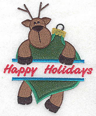 Embroidery Design: Reindeer hanging off ornament split applique 3.77w X 4.74h