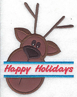 Embroidery Design: Reindeer head split applique Happy Holidays 3.75w X 4.95h