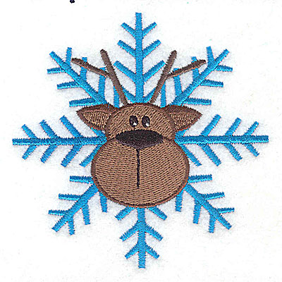 Embroidery Design: Reindeer head on snowflake large 3.80w X 3.81h