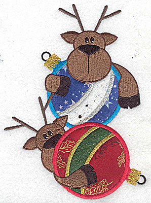 Embroidery Design: Two reindeer on ornaments appliques 6.53w X 4.76h