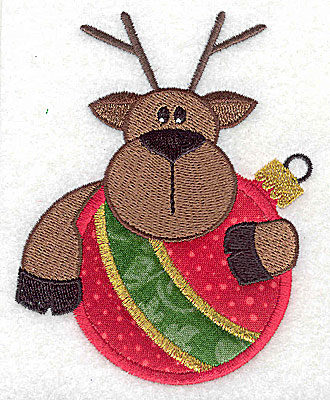 Embroidery Design: Reindeer on ornament appliques 3.33w X 4.26h