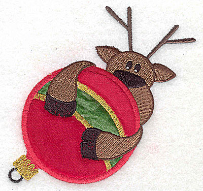 Embroidery Design: Reindeer on ornament appliques 4.11w X 3.85h