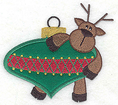 Embroidery Design: Reindeer on ornament appliques 3.87w X 3.49h