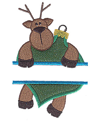 Embroidery Design: Reindeer on ornament split applique 3.02w X 4.74h