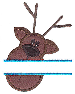 Embroidery Design: Reindeer head split applique    3.75w X 4.95h