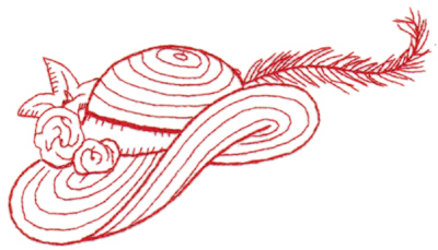 "Embroidery Design: Red Hat outline 26.51"" x 3.68"""