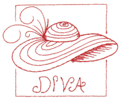 "Embroidery Design: Red Hat Diva4.42"" x 3.54"""