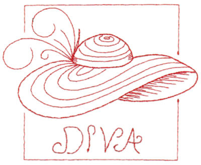 "Embroidery Design: Red Hat Diva (large)6.46"" x 5.17"""