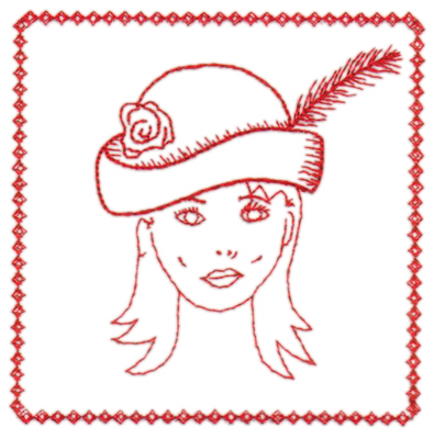 "Embroidery Design: Red Hat Portrait4.32"" x 4.31"""