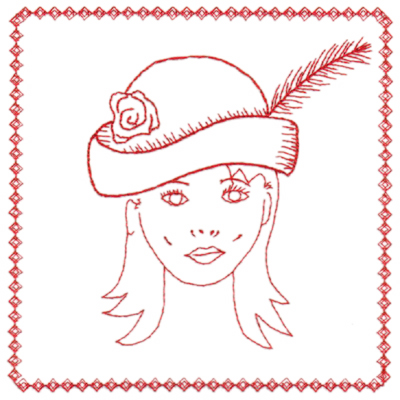 "Embroidery Design: Red Hat Portrait (large)6.40"" x 6.38"""