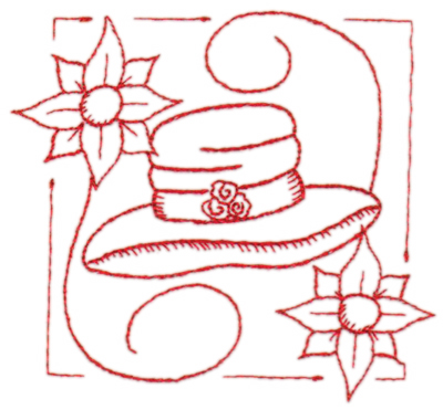 "Embroidery Design: Red Hat Whimsy4.40"" x 3.96"""