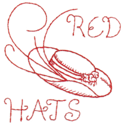 "Embroidery Design: Red Hat 24.37"" x 4.56"""