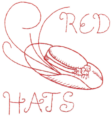 "Embroidery Design: Red Hat 2 (large)6.37"" x 6.65"""