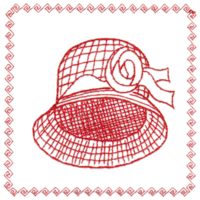 "Embroidery Design: Red Hat Framed4.40"" x 4.42"""