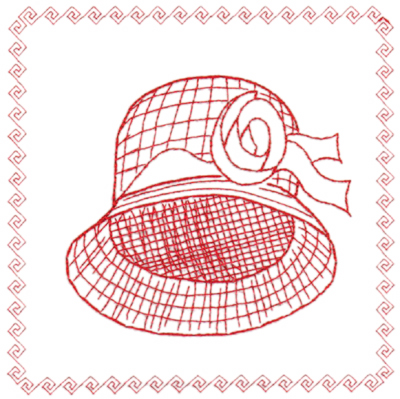 "Embroidery Design: Red Hat Framed (large)6.40"" x 6.41"""