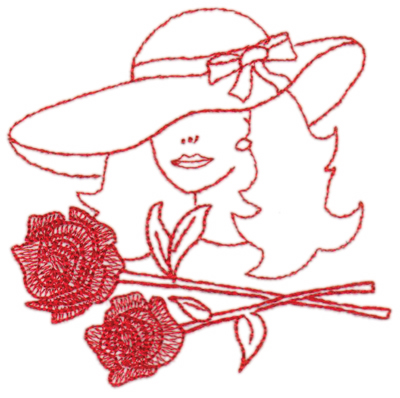 "Embroidery Design: Red Hat Fancy Lady4.41"" x 4.29"""