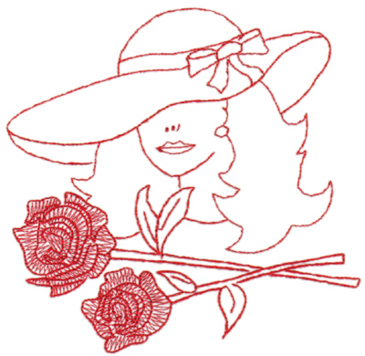 "Embroidery Design: Red Hat Fancy Lady (large)6.41"" x 6.21"""