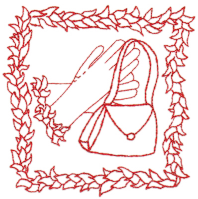 "Embroidery Design: Red Hat with purse & gloves4.50"" x 4.49"""