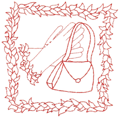 "Embroidery Design: Red Hat with purse & gloves (large)6.50"" x 6.47"""