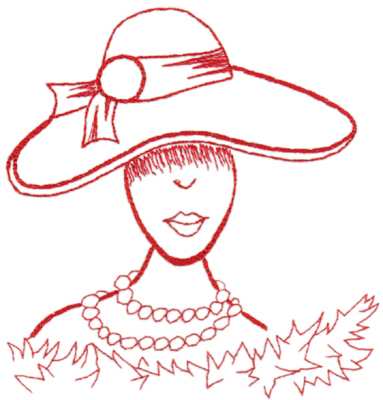 "Embroidery Design: Red Hat Sophistication (large)6.26"" x 6.43"""