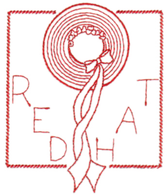 "Embroidery Design: Red Hat in frame3.82"" x 4.59"""