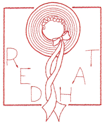 "Embroidery Design: Red Hat in frame (large)5.39"" x 6.51"""
