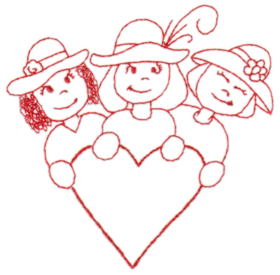 "Embroidery Design: Red Hat Friends4.35"" x 4.34"""
