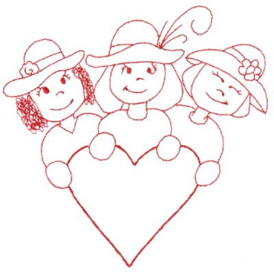 "Embroidery Design: Red Hat Friends (large)6.35"" x 6.33"""