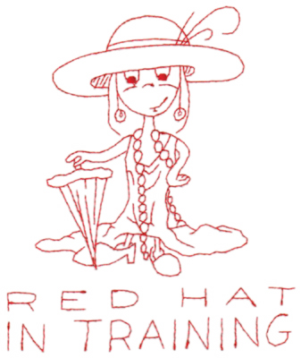 "Embroidery Design: Red Hat in training (large)5.40"" x 6.44"""