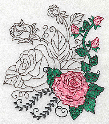 Embroidery Design: Rose Duo A large 4.35w X 4.96h